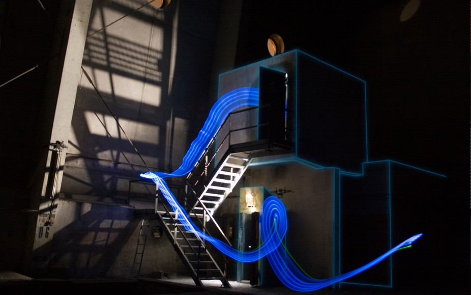 Lightpainting in an abandoned powerplant combining visual outline mapping-projection, lightpainti...