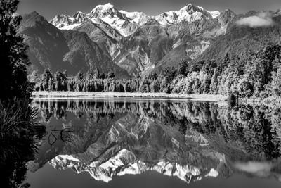 black & white mountain peak