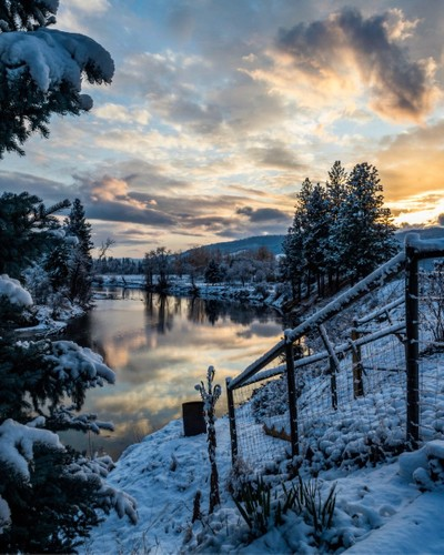 First snow of the year in Grand Forks, British Columbia