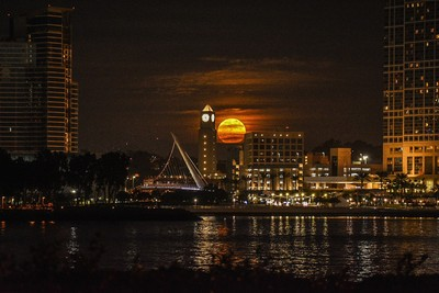 December 2017 supermoon over downtown San Diego, CA