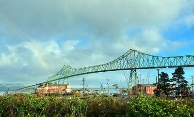 Rainbow at Astoria–Megler Bridge.