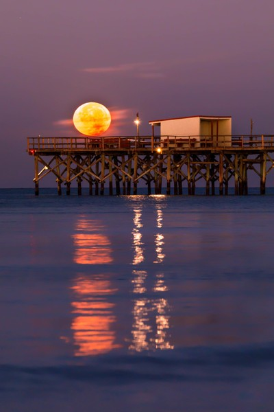 Moon Setting over Redinton Long Pier, onthe Gulf of MExico, Florida