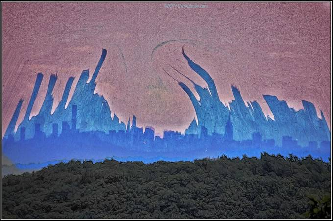 Shot from an abandoned fire tower from 30 miles away pictured is NYC with the spirit of artistry dancing above.