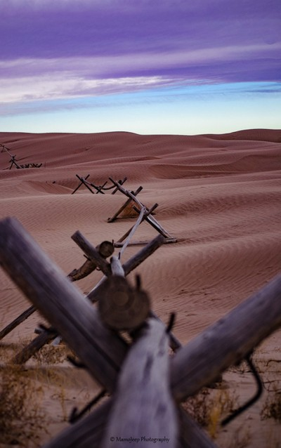 A fence line the Sand