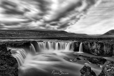 Godafoss Waterfall b/w