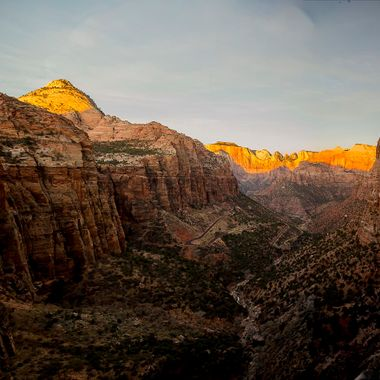 Zion National Park, Sunrise at Canyon Overlook.