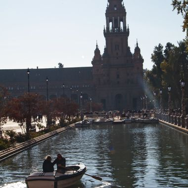 After a presenting at a Conference in Seville, the Conference Organizers took the participants on a tour of the city. I took this photo in front of a fountain at the Plaza de Espana.