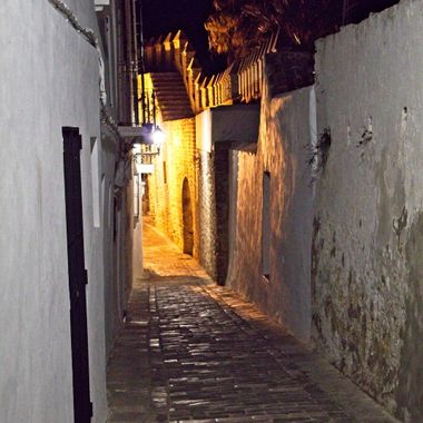 I took this photo when we stayed in Vejer de la Frontera for two nights, in November 2017. Me and my wife decided to walk around the streets at night and take some photos. This was one of them.