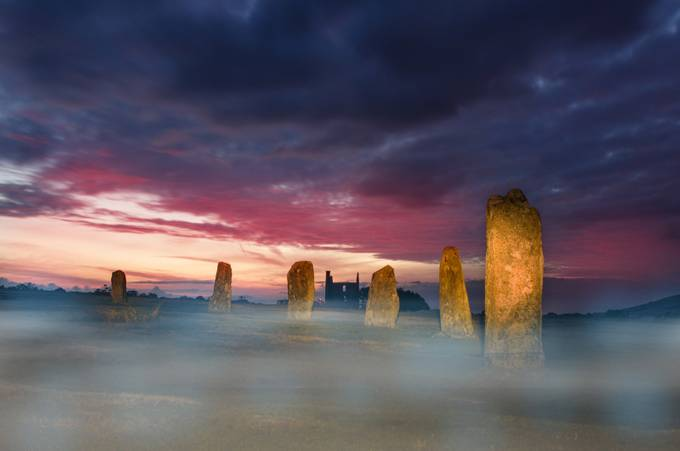 Misty sunrise over the Hurlers by SplinterPhotographic - Moody Vistas Photo Contest