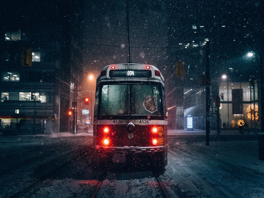 Snowy nights in Toronto