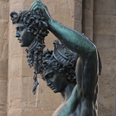 Perseus with the Head of Medusa made by Benvenuto Cellini in the Loggia dei Lanzi of the Piazza della Signoria in Florence, Italy.