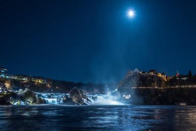 The Rhine Falls in the night