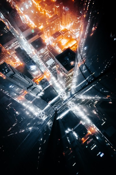 Looking down at the busiest intersection in Toronto