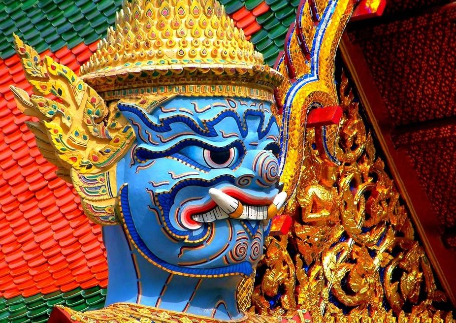 Yaksha statue in the Emerald Buddha Temple in Bangkok