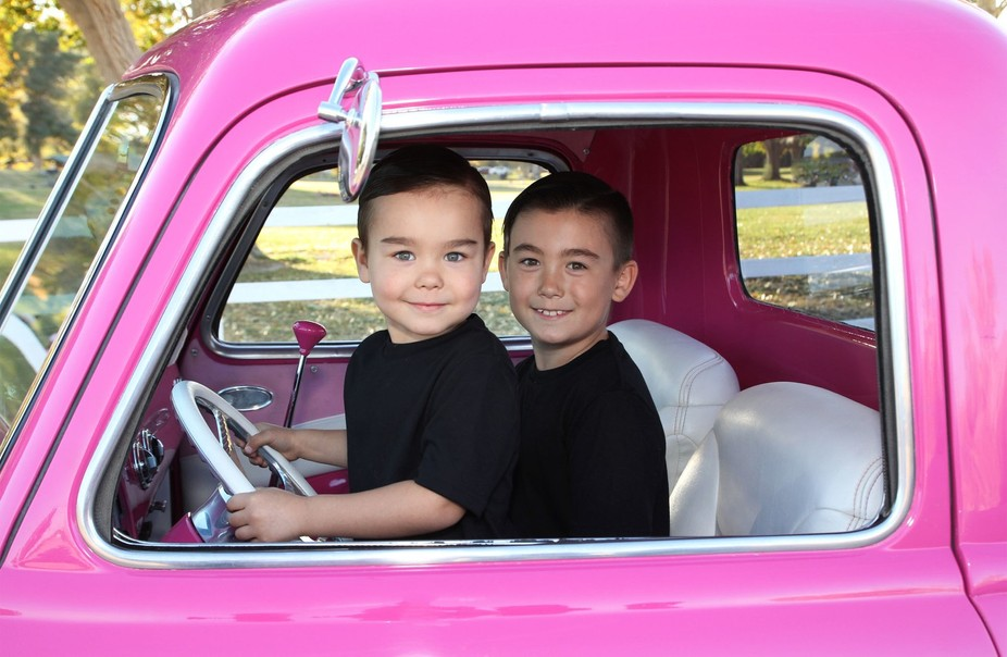 1951 Chevy Pickup sports 2 adorable passengers!