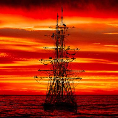 Sunset Dream - Tall Ship Lady Washington off Redwood City 20170318, Sunset HMB 20161229.  #341 of 365