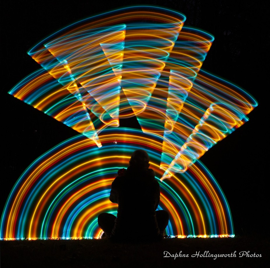 Lightpainting into the darkness of night...Me Myself and I