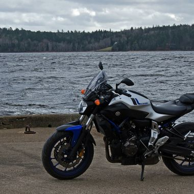 My Yamaha FZ-07 on a public wharf near the Saint John River.