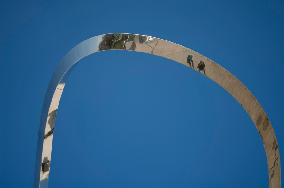 This piece of modern art sits in front of one of the museums near the Smithsonian in Washington, ...