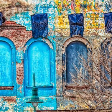 Blue Boarded Windows