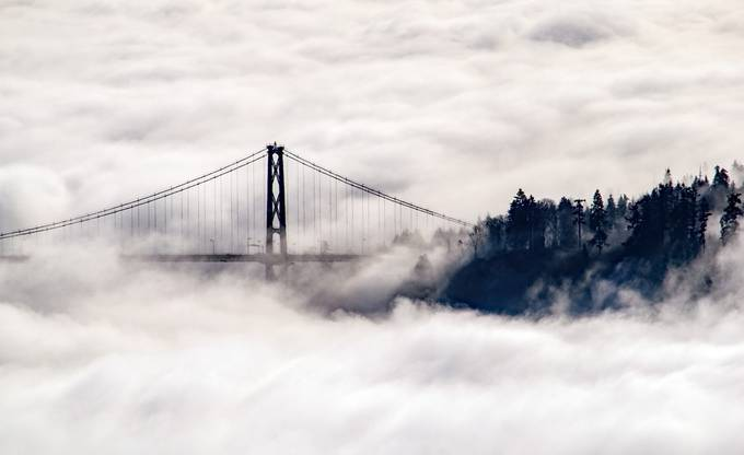 Foggy Lion's Gate by JoAnneRobbinsSmith - Fog And City Photo Contest