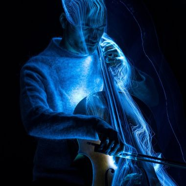 Light painting with a light brush as only light source.  Cellist: Antonis Pratsinakis a.pratsinakis@gmail.com www.antonispratsinakis.com  20171207 288