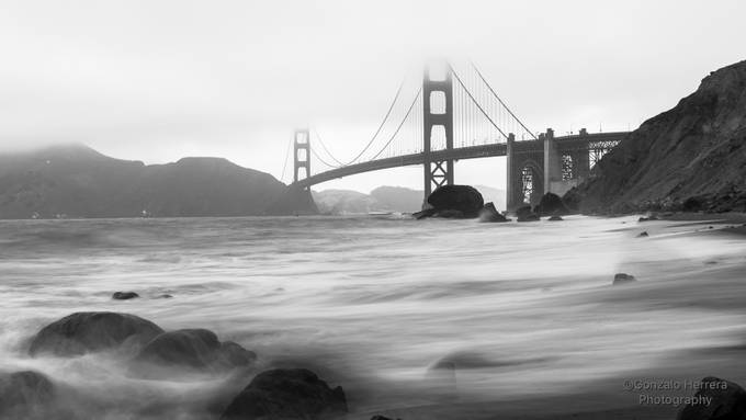 Golden Bridge B/W by GonzaloHerreraPhotography - Fog And City Photo Contest