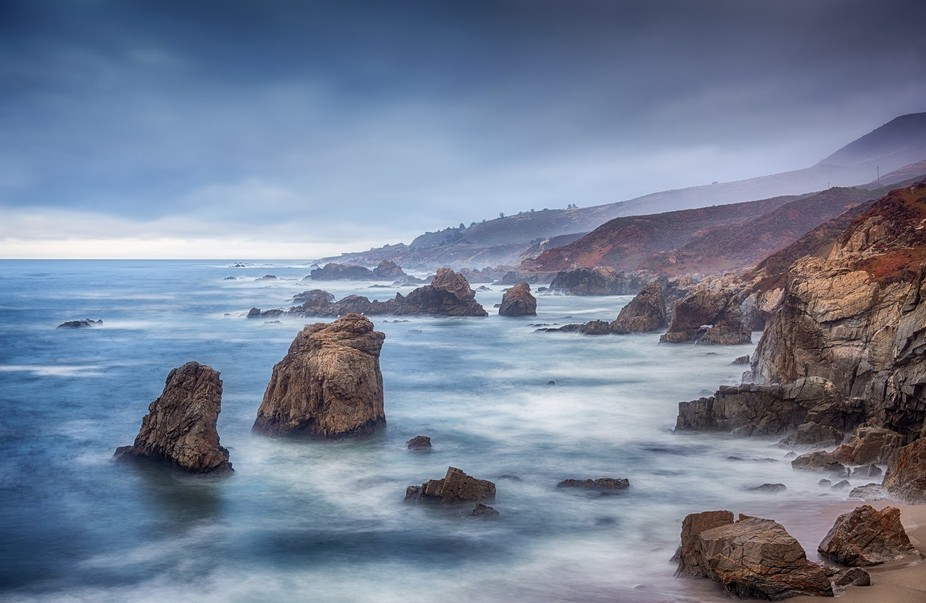 Photographed on a cloudy dawn in Big Sur, California