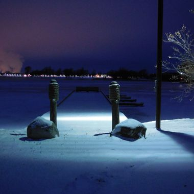 The view from the city of Ranier's dock toward International Falls, Mn. and Fort Francis, Ontario, Canada