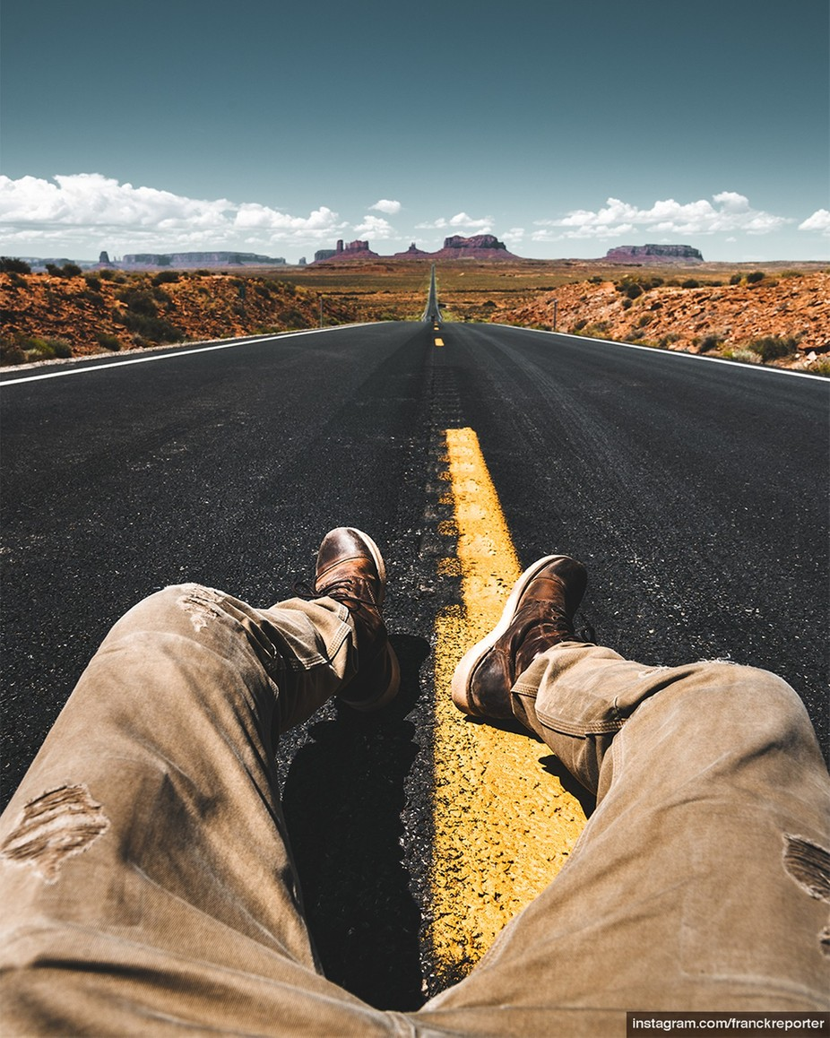 Man on the monument valley by franckreporter - A Road Trip Photo Contest