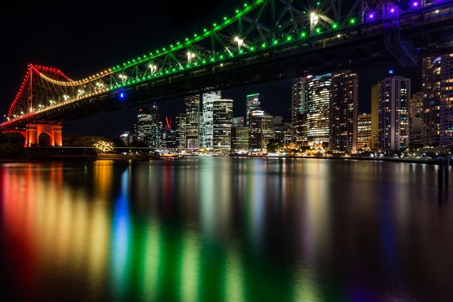 Brisbane City framed by the Story Bridge