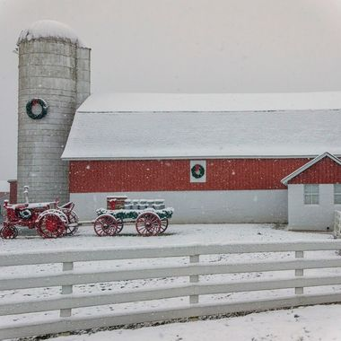 First snow of the year highlighted this farms decorations for Christmas; every year they deck the silo, the barn and pull out the vintage tractor and milk cans. The snow just made the reds pop.