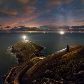 South Stack lighthouse, North Wales  South Stack lighthouse, the Milkyway, the distant lights of Dublin, head torches and passing ferries.. Even ...