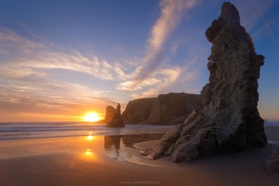 Bandon, Oregon Golden Hour Sunset