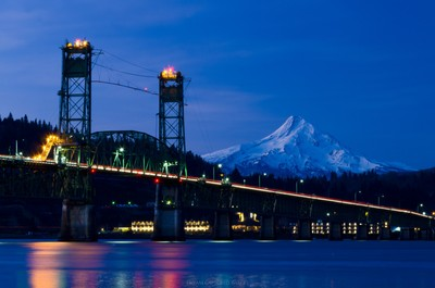 Hood River Bridge Blue Hour