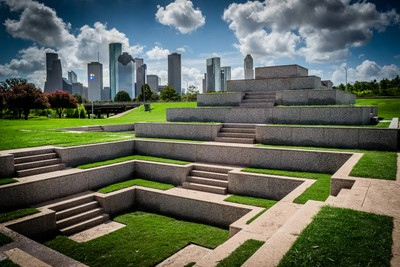 Houston Police Officer's Memorial & Downtown Skyline