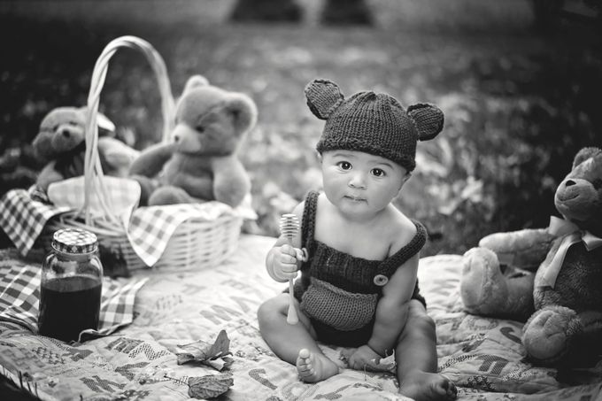 Teddy Bear Picnic by annatriplett - Babies In Black And White Photo Contest