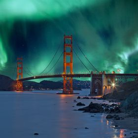 Northern light over the Golden Gate as imagined