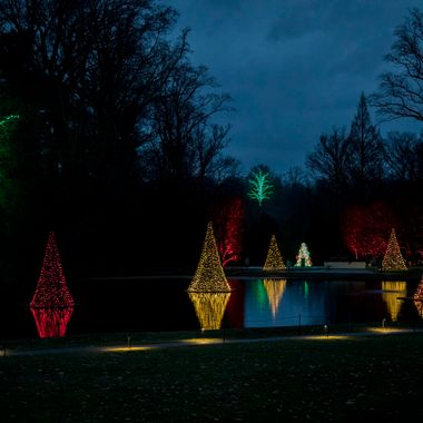 Longwood Gardens night light display at Christmas.
