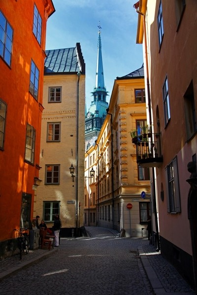 The narrow streets of old Stockholm. Sweden.