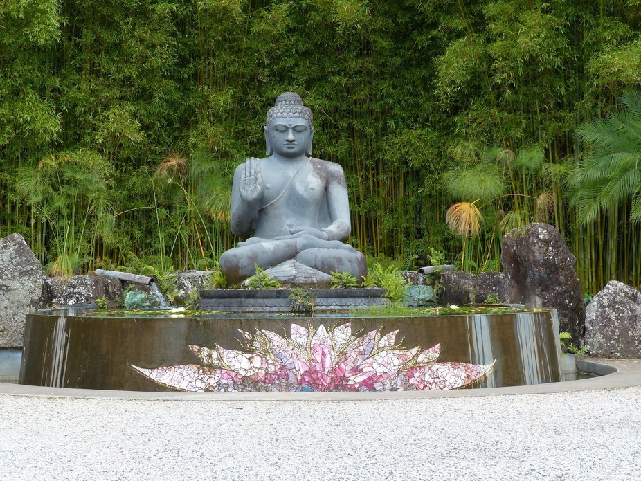 Giant Buddha at Crystal Castle in Queensland, the largest buddha in Australia, with lotus mosaic