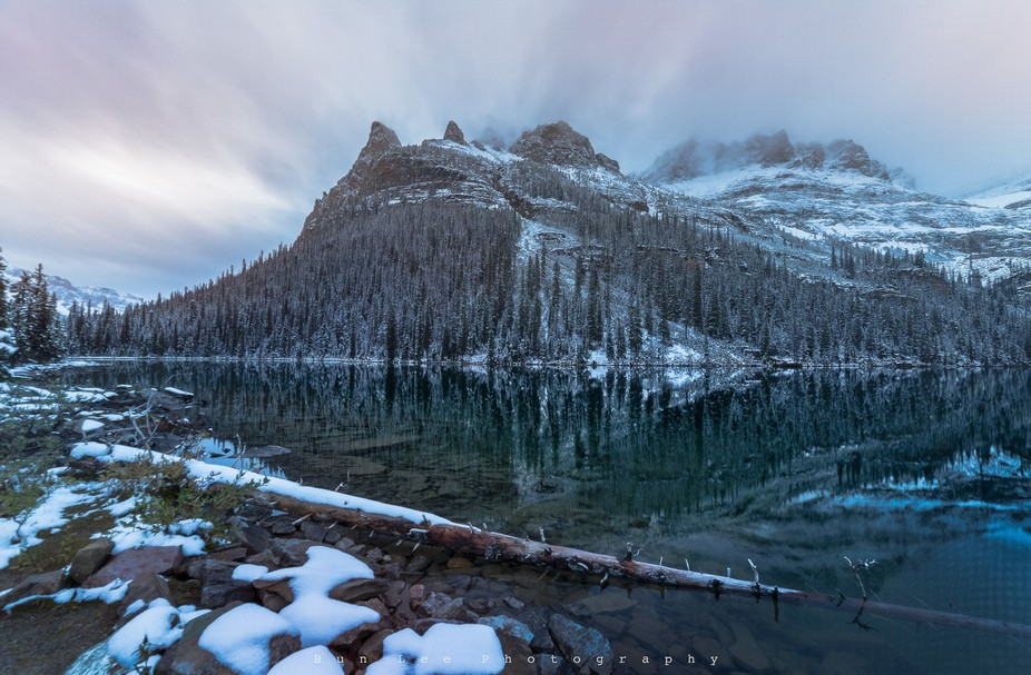 Wiwaxy Peak at sunset time in Lake O'Hara. One of the most beautiful place in the Canadi...