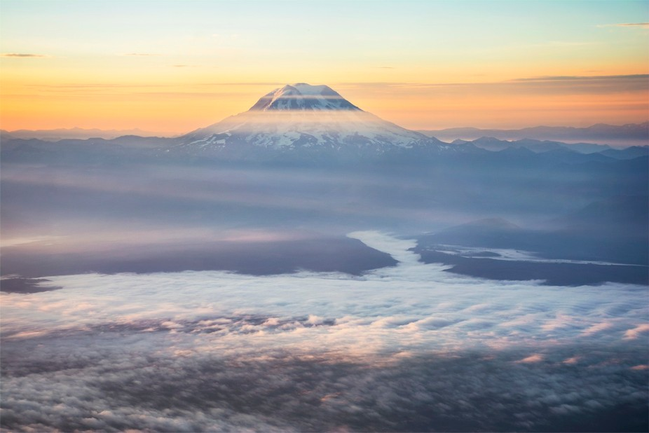 Early morning light beaming onto the tallest peak in the PNW, Mt Rainier  Prints available for pu...
