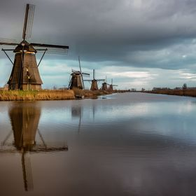 The windmills at Kinderdijk are a group of 19 monumental windmills in the Alblasserwaard polder, in the province of South Holland, Netherlands. M...