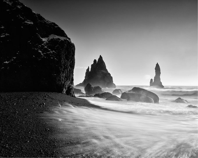Reynisfjara Sea Stacks by kenrhodes - Monochrome Creative Compositions Photo Contest