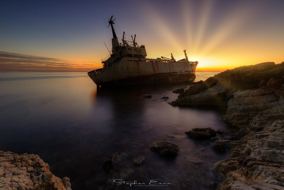 The wreck of the Edro III in Cyprus captured at sunset