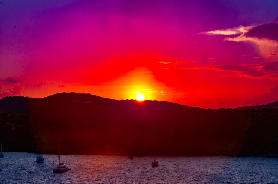 St Maarten Sunset on Mountains