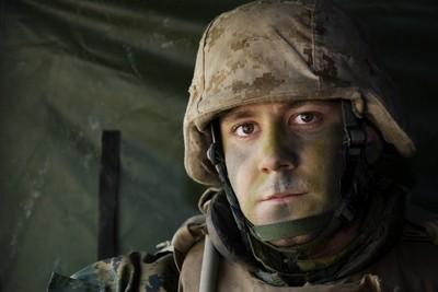 U.S. Marine in Humvee