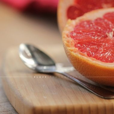 Early morning breakfast with a grapefruit.