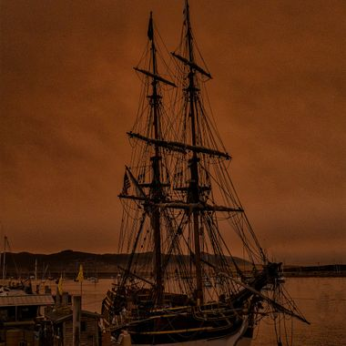 Red Sun and Tall Ship at Dock - Fireskies 4 - #352 of 365  The picture series this week, Fireskies, are from a recent visit to Morro Bay. On one of the days there the smoke cloud from the Thomas fire rolled over Morro Bay. These images were taken then. Th